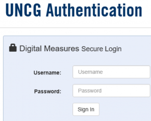 UNCG authentication login screenshot asking for username and password