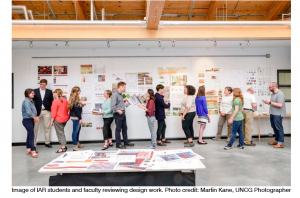 Students and Faculty reviewing design work