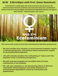 Ecofeminism class poster -Picture of the woods