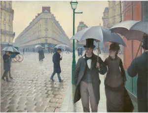 Gustave Caillebotte painting of people strolling in Paris under umbrellas