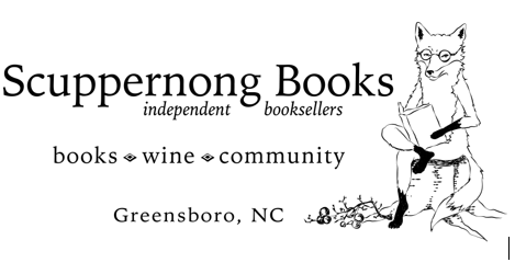 Scuppernong Books logo pic of fox reading a book