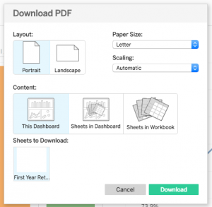 shows a pop up box which reads download pdf. the options are portrait or landscape, paper size, scaling, and more. simply click portrait and download.