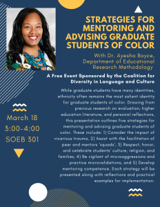 Presentation Flyer Strategies for Mentoring and Advising Grad Students of Color