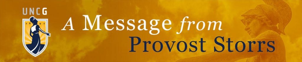 """Memo Banner """"Message from Provost Storrs"""""""